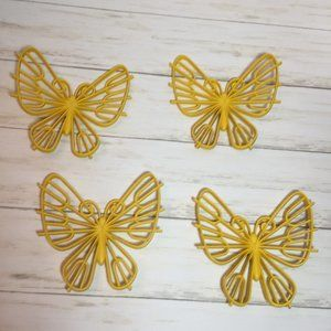 Vintage Set of 4 Yellow Butterflies Wall Decor 70s